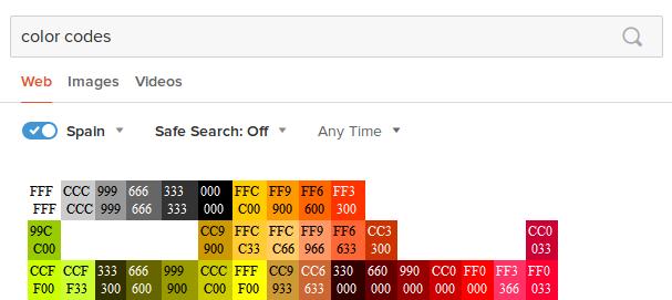 colores hexadecimal