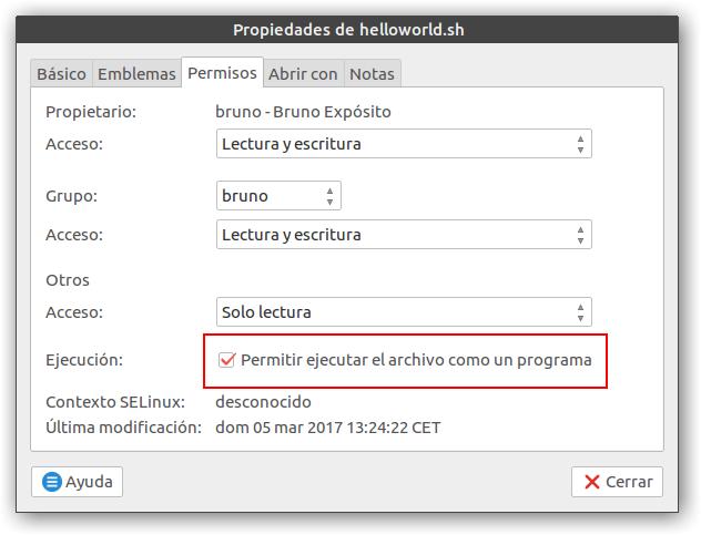 permisos ejecución caja